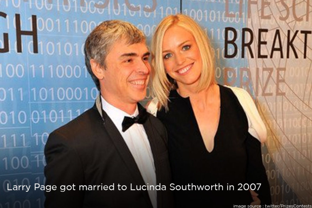 Lary Page got married to lucinda
